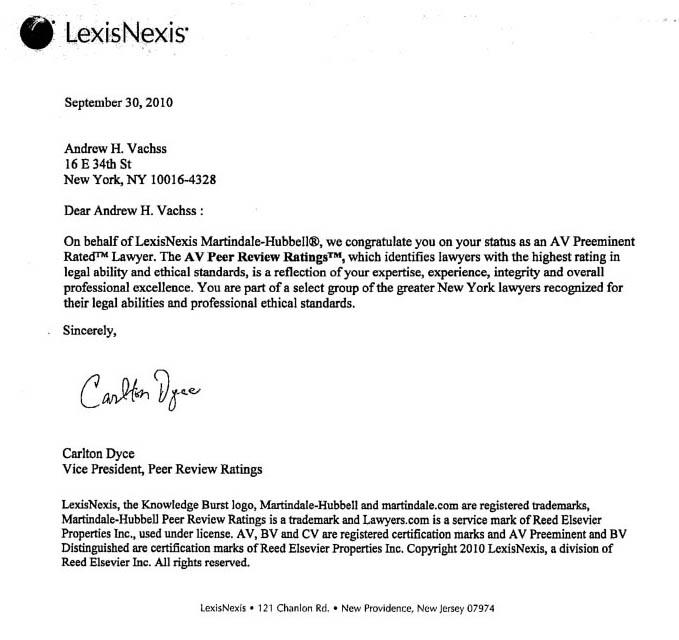 LexisNexis letter